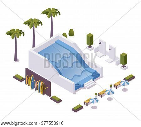 Wave Pool For Surfing Training Isometric Scene. Vector Concept Illustration With Boards Stand, Palms