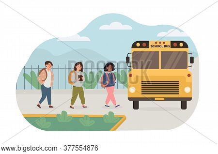 Scene Of Multiethnic, Mix Race Kids Picked Up By Yellow School Bus. Children Going Back To School. V
