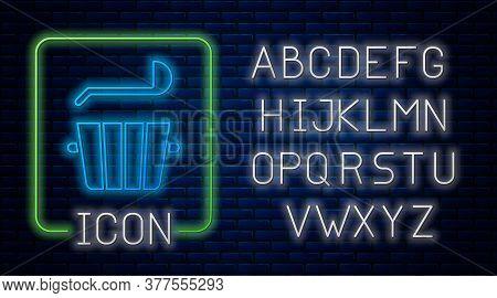 Glowing Neon Sauna Bucket And Ladle Icon Isolated On Brick Wall Background. Neon Light Alphabet. Vec