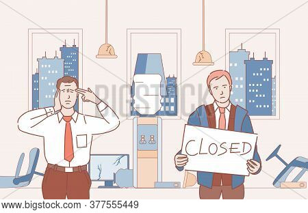 Businessmen Become Bankrupt And Closed Their Business Vector Cartoon Outline Illustration. Sad And A
