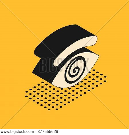Isometric Hypnosis Icon Isolated On Yellow Background. Human Eye With Spiral Hypnotic Iris. Vector