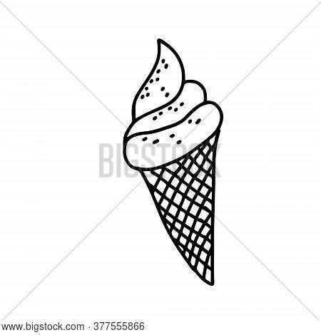 Black Hand-drawn Vector Illustration Of One Fresh Cold Ice Cream In A Waffle Cone With Caramel Sprin