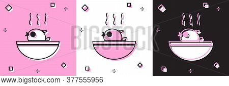 Set Puffer Fish Soup Icon Isolated On Pink And White, Black Background. Fugu Fish Japanese Puffer Fi