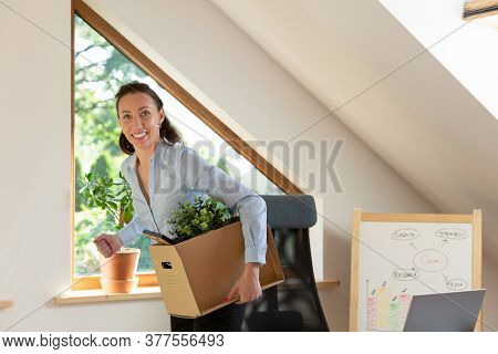 Beautiful Business Woman Carrying A Box Of Office Stuff. New Work Promotion Or Leaving Job Concept.