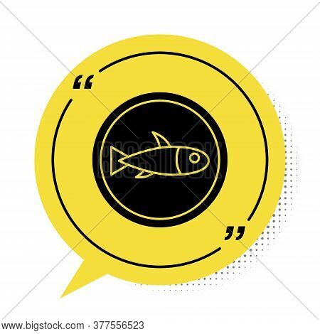 Black Served Fish On A Plate Icon Isolated On White Background. Yellow Speech Bubble Symbol. Vector.