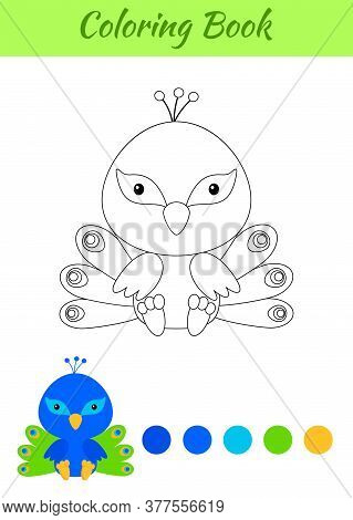 Coloring Page Little Sitting Baby Peacock. Coloring Book For Kids. Educational Activity For Preschoo