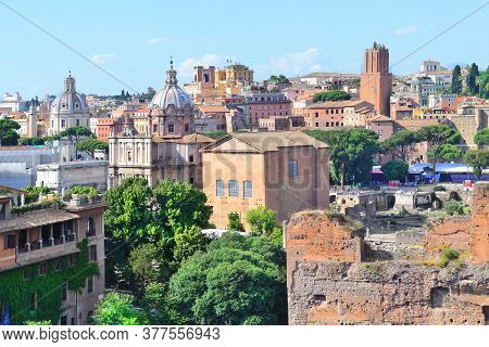 Italy, Rome. Old Town In A Sunny Summer Day