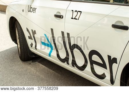 Moscow, Russia - 1 June 2020: Uber Car Taxi On Street , Illustrative Editorial.