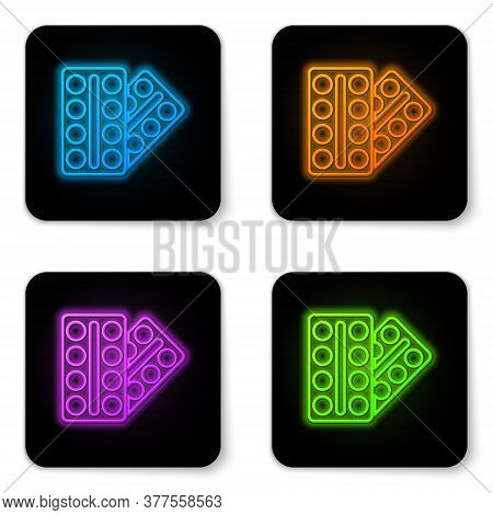 Glowing Neon Pills In Blister Pack Icon Isolated On White Background. Medical Drug Package For Table