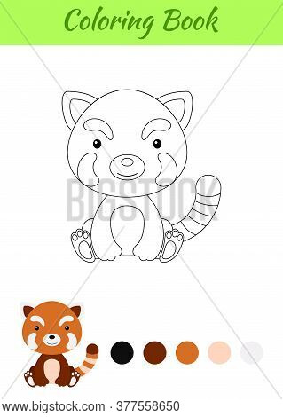 Coloring Page Little Sitting Baby Red Panda. Coloring Book For Kids. Educational Activity For Presch
