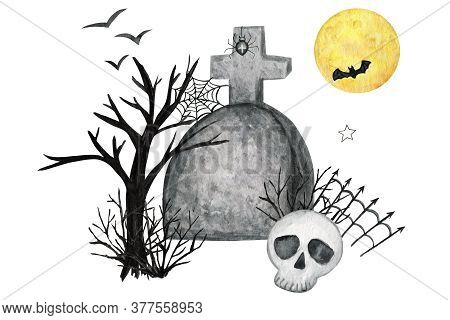Halloween Holiday Party Composition With Skull, Bat, Moon, Spider Party Decorations. Watercolor Cart