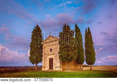 Popular Photography And Touristic Location In Tuscany, Amazing Vitaleta Chapel At Colorful Sunset, P