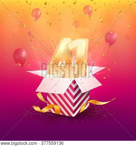 41 Th Years Anniversary Vector Design Element. Isolated Forty One Years Jubilee With Gift Box, Ballo