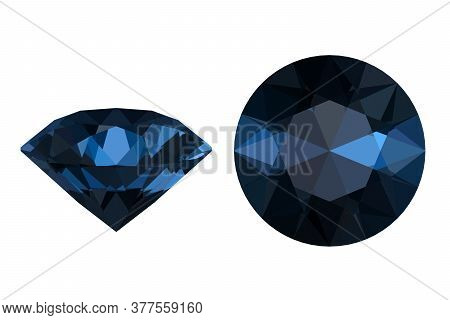Blue Brilliant, Precious Diamond Isolated On White, 3d Render