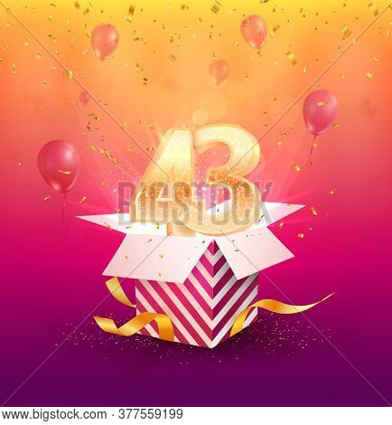 43 Th Years Anniversary Vector Design Element. Isolated Forty Three Years Jubilee With Gift Box, Bal