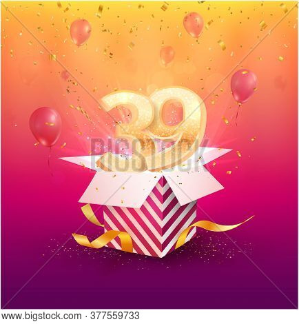 39 Th Years Anniversary Vector Design Element. Isolated Thirty Nine Years Jubilee With Gift Box, Bal