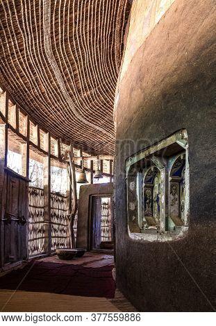 Lake Tana, Ethiopia - Feb 05, 2020: Zege Peninsula In Lake Tana. Ura Kidane Mehret Church From 16th