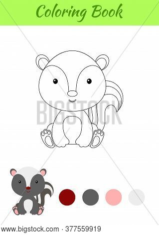 Coloring Page Little Sitting Baby Skunk. Coloring Book For Kids. Educational Activity For Preschool
