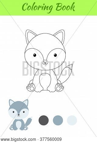 Coloring Page Little Sitting Baby Wolf. Coloring Book For Kids. Educational Activity For Preschool Y