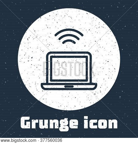 Grunge Line Wireless Laptop Icon Isolated On Grey Background. Internet Of Things Concept With Wirele
