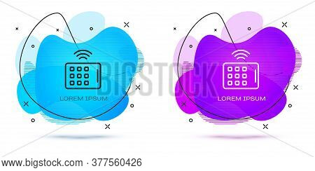 Line Wireless Tablet Icon Isolated On White Background. Internet Of Things Concept With Wireless Con