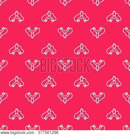 White Line Slingshot Icon Isolated Seamless Pattern On Red Background. Vector