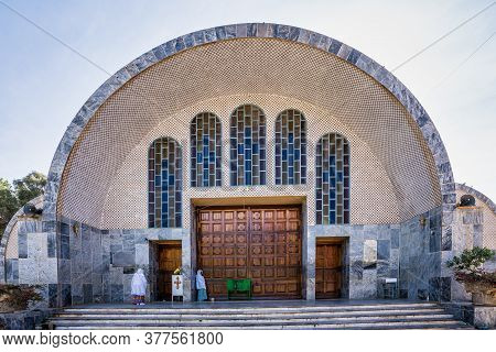 Aksum, Ethiopia - Feb 09, 2020: Ethiopian People At Church Of Our Lady St. Mary Of Zion, The Most Sa