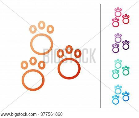 Red Line Paw Print Icon Isolated On White Background. Dog Or Cat Paw Print. Animal Track. Set Color