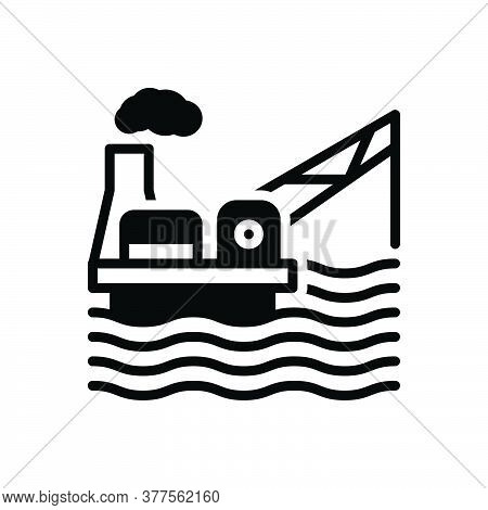 Black Solid Icon For Drilling-rig Platform Exploration Production  Equipment Gasoline Exploration Ma