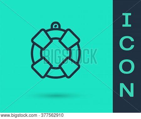 Black Line Lifebuoy Icon Isolated On Green Background. Lifebelt Symbol. Vector