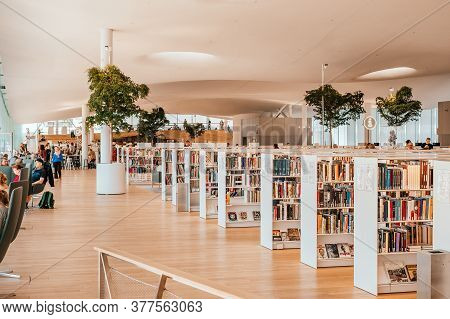 Helsinki, Finland - July 1, 2019: Modern Interior Of The Helsinki Central Library Oodi, Public Libra