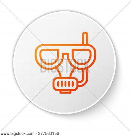 Orange Line Diving Mask And Snorkel Icon Isolated On White Background. Extreme Sport. Diving Underwa