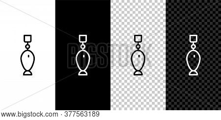 Set Line Fishing Spoon Icon Isolated On Black And White Background. Fishing Baits In Shape Of Fish.