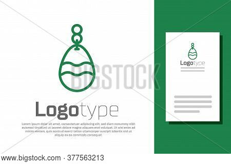 Green Line Fishing Spoon Icon Isolated On White Background. Fishing Baits In Shape Of Fish. Fishing