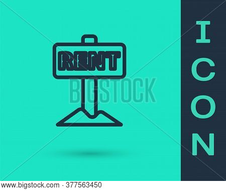 Black Line Hanging Sign With Text Rent Icon Isolated On Green Background. Signboard With Text For Re
