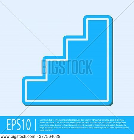 Blue Line Staircase Icon Isolated On Grey Background. Vector