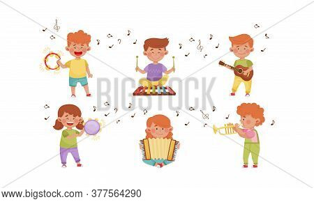Happy Kids Playing Different Musical Instruments Vector Illustrations Set