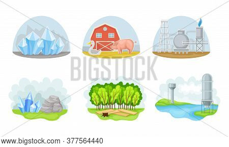 Natural Resources With Gas Extraction Station And Domestic Livestock Breeding Vector Set