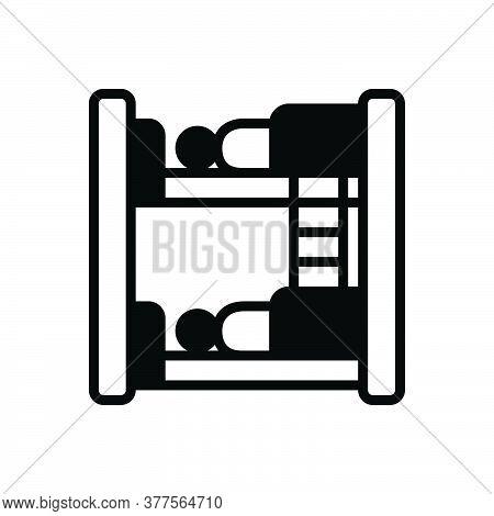 Black Solid Icon For Hostel Dormitory Hostel Dorm Bedroom Dormer Hotel Residential Sleep