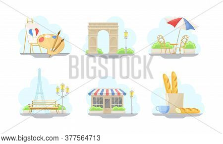 Paris Street Views With Eiffel Tower And Baguette Vector Illustrations Set