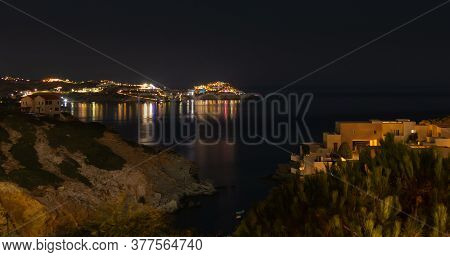 Crete, Greece - August 09, 2019: Night Photograph Of The Beautiful Coastline Of The Island Of Crete