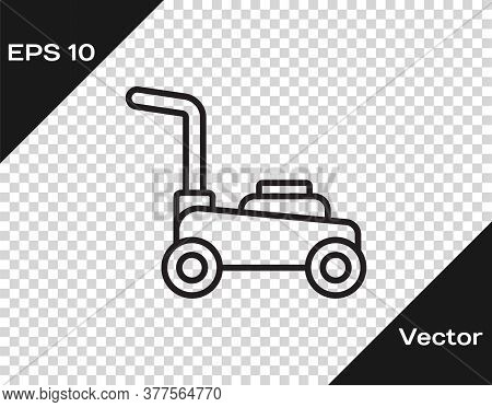 Black Line Lawn Mower Icon Isolated On Transparent Background. Lawn Mower Cutting Grass. Vector