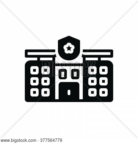 Black Solid Icon For Precinct Architectural Authority Enforcement  Guard  Stationhouse Patrol