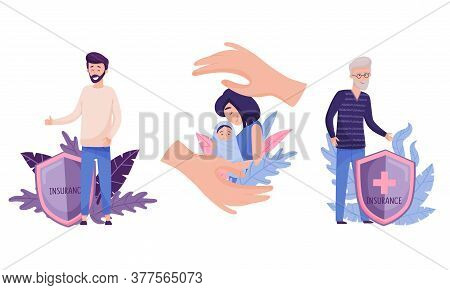Bearded Man Standing Near Insurance Shield And Decorative Leaves Behind Vector Illustration Set
