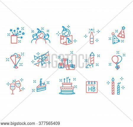Party Icons And Celebration Icons. Happy Birthday. Universal Birthday Icons To Use For Web And Mobil