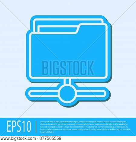Blue Line Ftp Folder Icon Isolated On Grey Background. Software Update, Transfer Protocol, Router, T