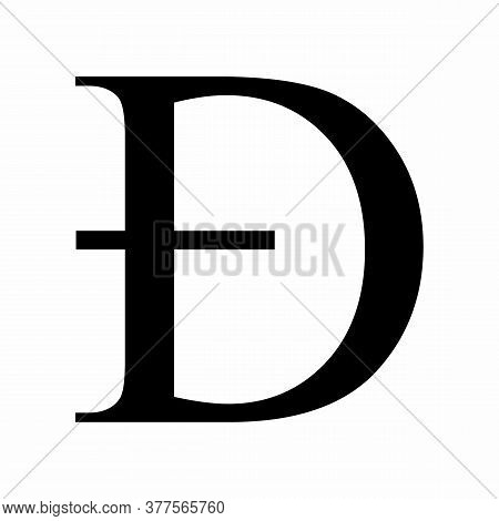 Capital Eth Latin Letter Icon On White Background