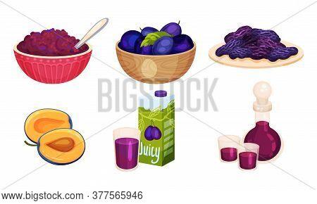 Plum Foodstuff With Sweet Juice And Prune Vector Set