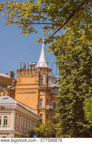 Kyiv, Ukraine - June 28, 2020: Facade Of Historican Medieval Castle The House Of Baron Steingel In K