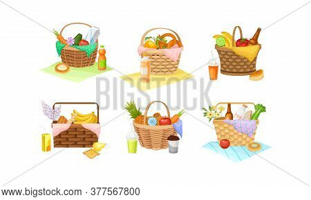 Wicker Picnic Baskets And Hampers Full With Foodstuff Vector Set